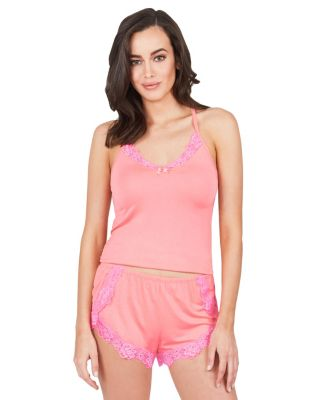 FLY GIRL LACE TRIM SHORT SET CORAL