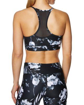 Front mesh deep v printed bra black white back