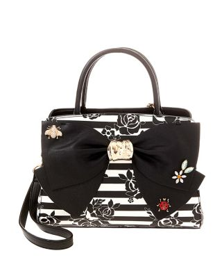 GLAM GARDEN BOW SATCHEL BLACK/WHITE
