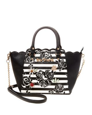 GLAM GARDEN SMALL SATCHEL BLACK/WHITE
