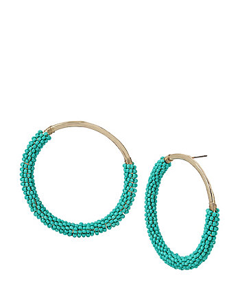 GLITTER REEF BEADED HOOP EARRINGS