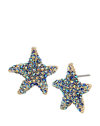 GLITTER REEF STARFISH BUTTON EARRINGS