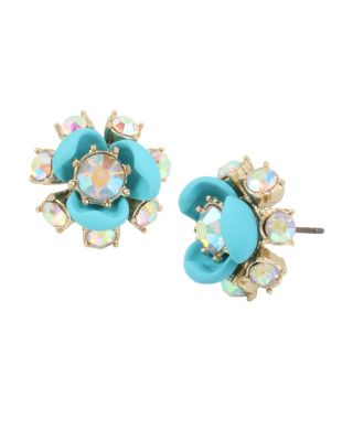 GRANNY CHIC TURQUOISE FLOWER STUD TURQUOISE