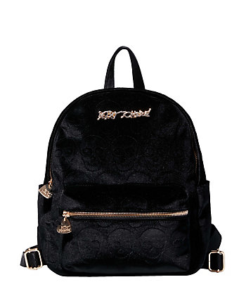 HEAD OF THE CLASS VELVET SKULL BACKPACK