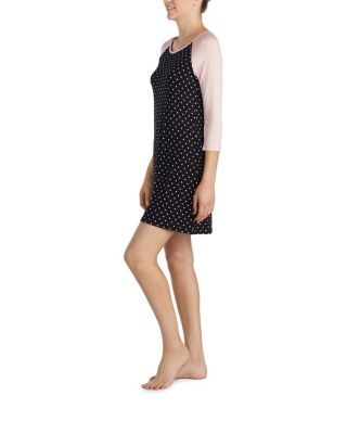 HEART AND SOUL RAYON KNIT SLEEP TUNIC BLACK/PINK