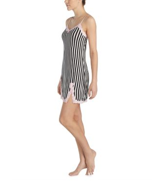 Image of HEART AND SOUL RAYON KNIT SLIP BLACK/WHITE
