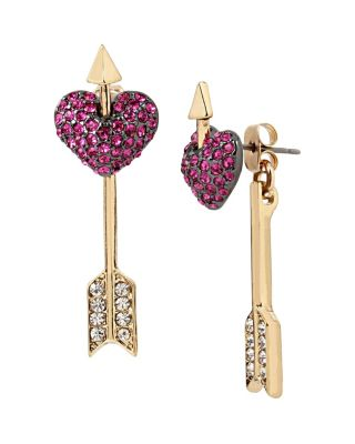 HEARTS AND ARROWS PIERCED HEART EARRINGS PINK