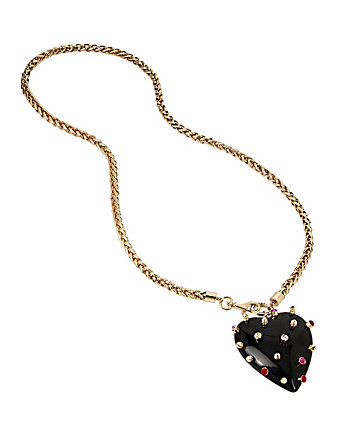 HEARTS AND ARROWS STUDDED RESIN HEART NECKLACE