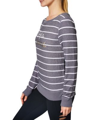 HELLO WEEKEND STRIPED PULLOVER CHARCOAL