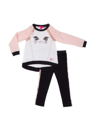 HERE KITTY KITTY INFANT TWO PIECE SET BLACK/PINK