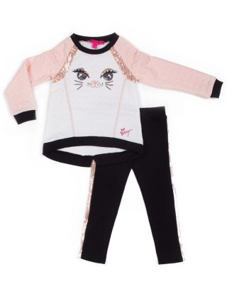 Image of HERE KITTY KITTY TODDLER TWO PIECE SET BLACK/PINK