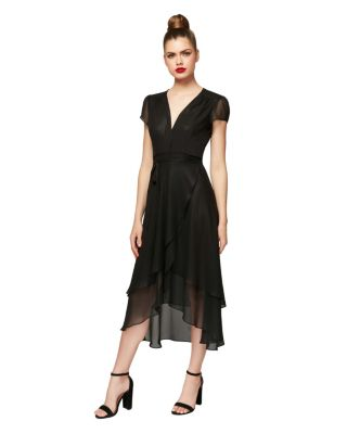 HIGH LOW SOLID WRAP DRESS BLACK