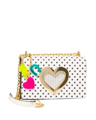 HOLE IN MY HEART CROSSBODY BLACK/WHITE POLKA