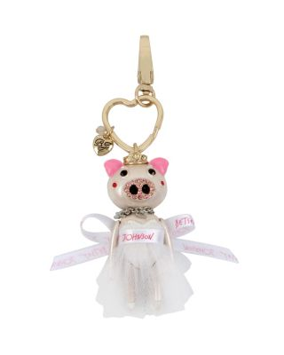 HOLIDAY GIVING PIG BRIDE KEYCHAIN WHITE