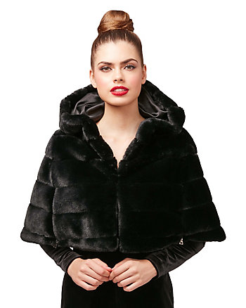 IN THE DARK OF THE NIGHT FAUX FUR CAPELET