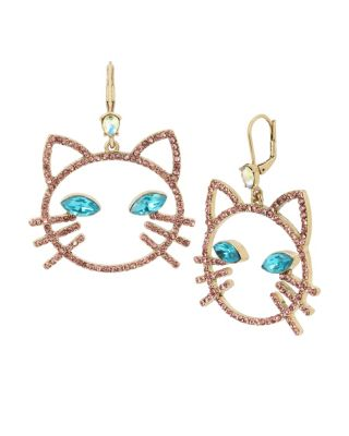 Image of JUST KITTEN AROUND OPENWORK CAT EARRINGS PINK