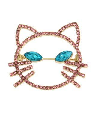 Image of JUST KITTEN AROUND OPENWORK CAT PIN PINK