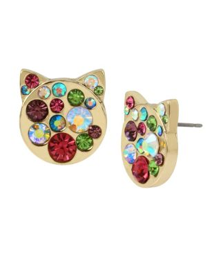 Image of JUST KITTEN AROUND PAVE CAT STUD EARRINGS MULTI