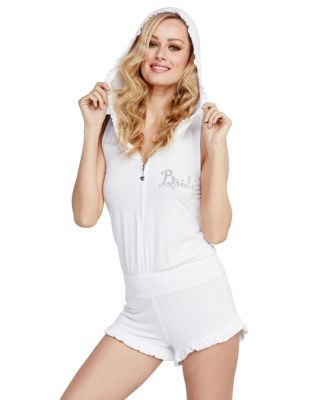 KISS THE BRIDE FRENCH TERRY ROMPER WHITE
