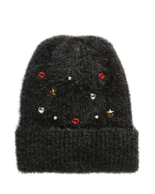 KISSES AND STARS CUFF HAT BLACK
