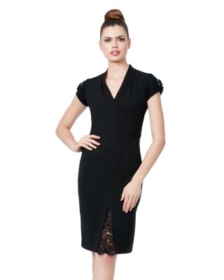 LACE CAP SLEEVE DETAIL MIDI DRESS BLACK