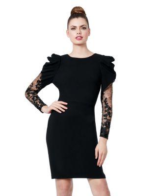 Image of LADY LACE SLEEVE DRESS BLACK