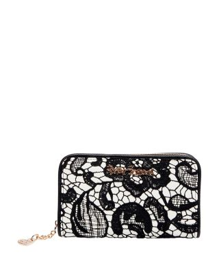 Lady Lace Zip Around Wallet Black