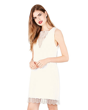 LATTICE OPENWORK SHIFT DRESS