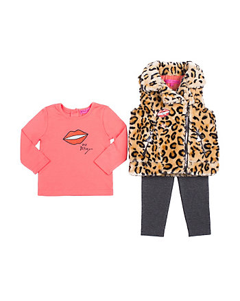 LEAPING LEOPARD TODDLER 3 PIECE VEST SET