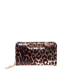 LEAPING LEOPARD ZIP AROUND WALLET