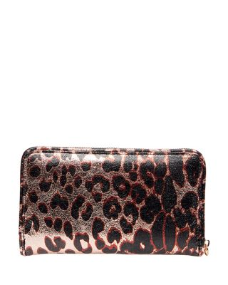 LEAPING LEOPARD ZIP AROUND WALLET LEOPARD