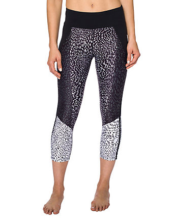 LEOPARD BLOCKED MESH INSET CROP LEGGING