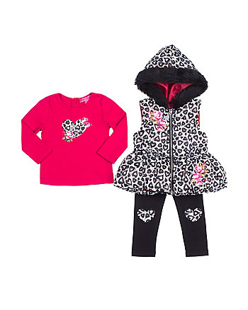 LEOPARD HEARTS TODDLER 3 PIECE VEST SET