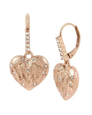 LITTLE ANGELS HEART DROP EARRINGS CRYSTAL