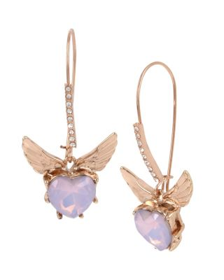 "These feminine hook earrings feature a heart-shaped faceted stone in pale lavender. Rose gold wings playfully splay out from this charming set. Rose gold tone long ear wire and heart-shaped stone drop earrings with rose gold tone wings Shepherds hook Metal/glass Length: 2"" Width: 1"""