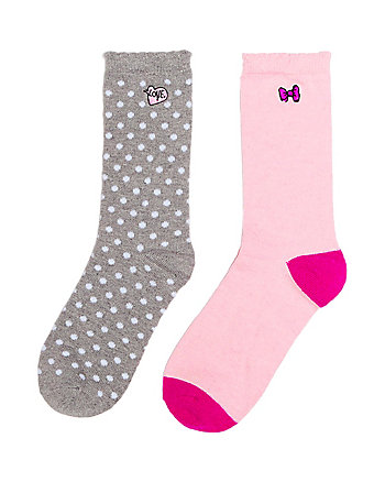 LOVE EMBROIDERED BOOT SOCK 2 PACK