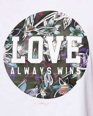 LOVE VARSITY CROP BOYFRIEND TEE WHITE