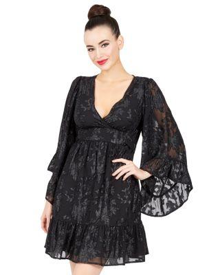 LOVELY LACE BOHO BELL SLEEVE DRESS BLACK
