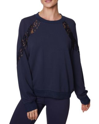 LOVELY LACE INSET SWEATSHIRT NAVY