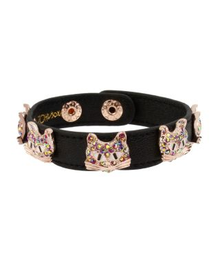 LOVIN LEATHER CAT BRACELET PINK