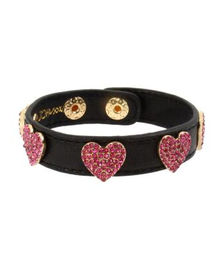 LOVIN LEATHER HEART BRACELET FUCHSIA