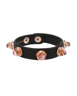 LOVIN LEATHER ROSE BRACELET PINK