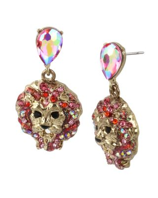 MAGICAL CREATURES LION DROP EARRINGS PINK
