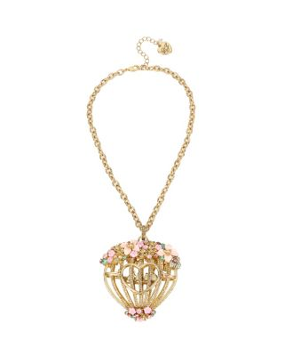 MARIE ANTOINETTE FLOWER CAGE PENDANT NECKLACE MULTI