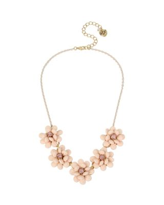 MARIE ANTOINETTE PAVE ROSE FRONTAL NECKLACE PINK
