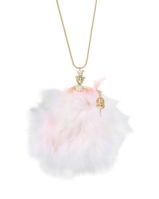 MARIE ANTOINETTE PINK MOUSE DOLL PENDANT NECKLACE PINK MULTI