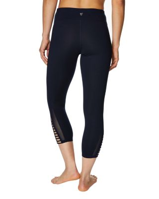 MESH VENTED STRAPPY CROP LEGGING NAVY