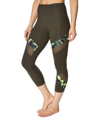 Image of MIXED PRINT AND MESH CROP LEGGING MOSS MULTI