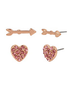 NOT YOUR BABE ARROW HEART STUD DUO SET