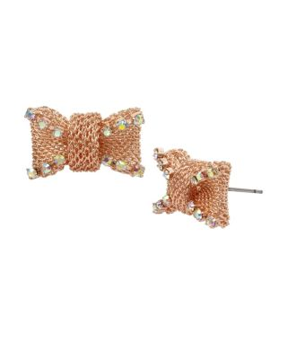 Not Your Babe Bow Stud Earrings Crystal